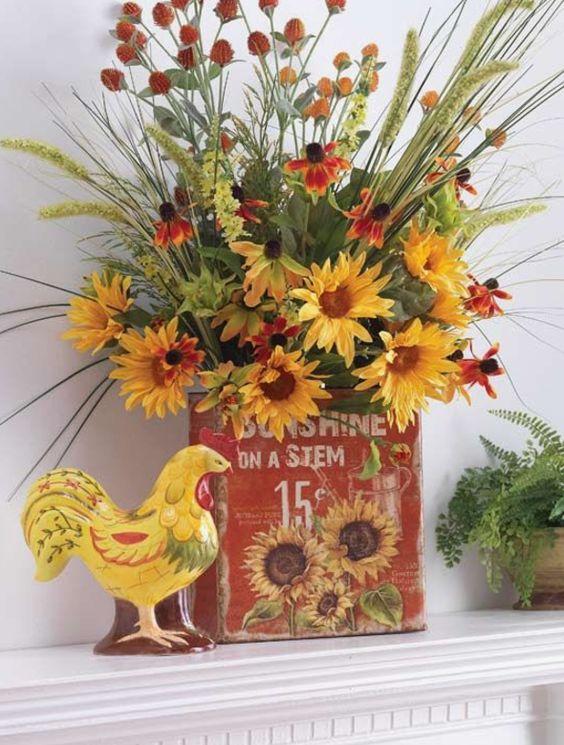 Fall Flower Mantel