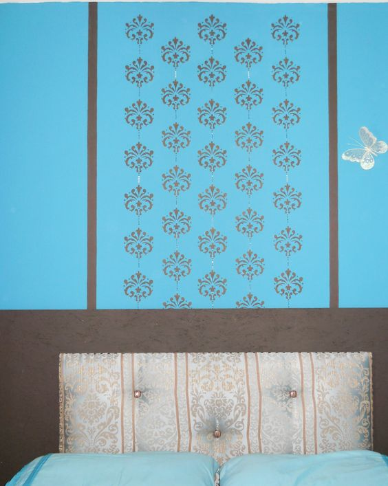 Diy Padded headboard and hand made stenciled wall