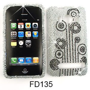 Unlimited Cellular Snap-On Case for HTC Evo 4G (Full Diamond Crystal, Black Flowers on White)