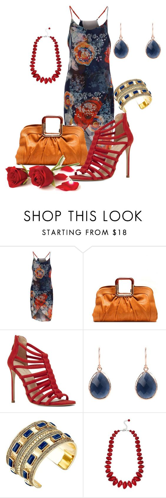 """""""Navy, orange and red dress #994"""" by highheelsandhotflashes ❤ liked on Polyvore featuring Nine West, Latelita, House of Harlow 1960 and M&Co"""