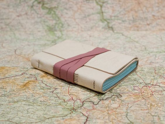 Distressed Cream and Pink Leather Journal  Blank by JackdawBindery, £19.00