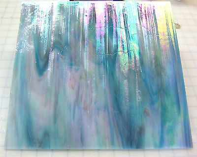 110 Mosaic Tiles BEAUTIFUL SKY BLUE PINK METALLIC  IRIDESCENT Opal Stained Glass