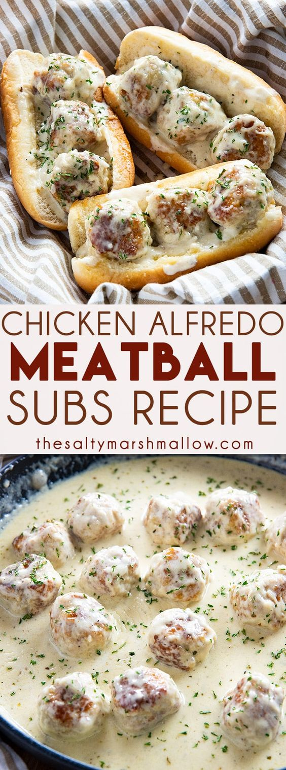 Chicken Alfredo Meatball Subs feature mouthwatering and tender chicken meatballs in a rich and creamy homemade Alfredo sauce!  Turn them into meatball subs for a super easy dinner! #easymeatballsubs #meatballsubs #meatballs #chickenalfredo #chickenmeatballs #thesaltymarshmallow