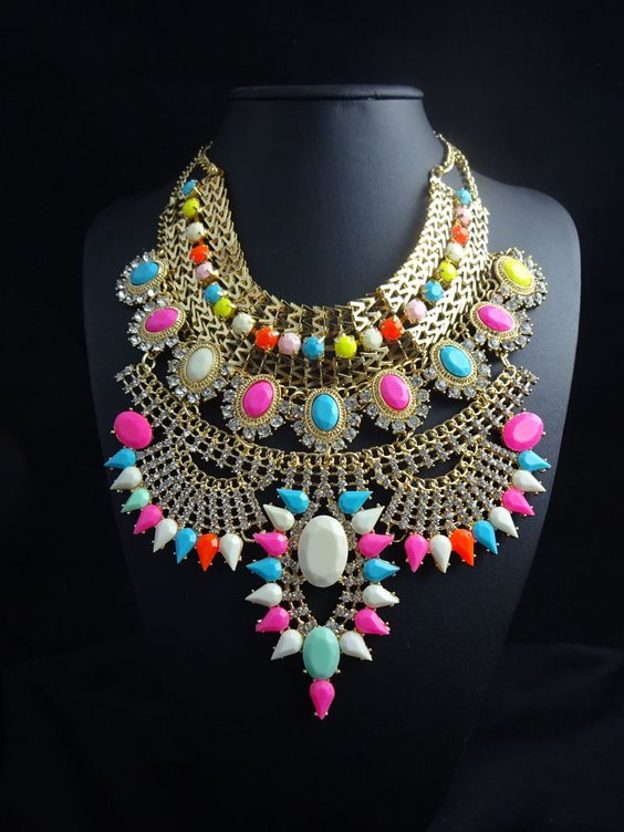 Wholesale Fashion womens 2016 big heavy metal chain colorful crystal flower necklace bib choker chunky statement necklace
