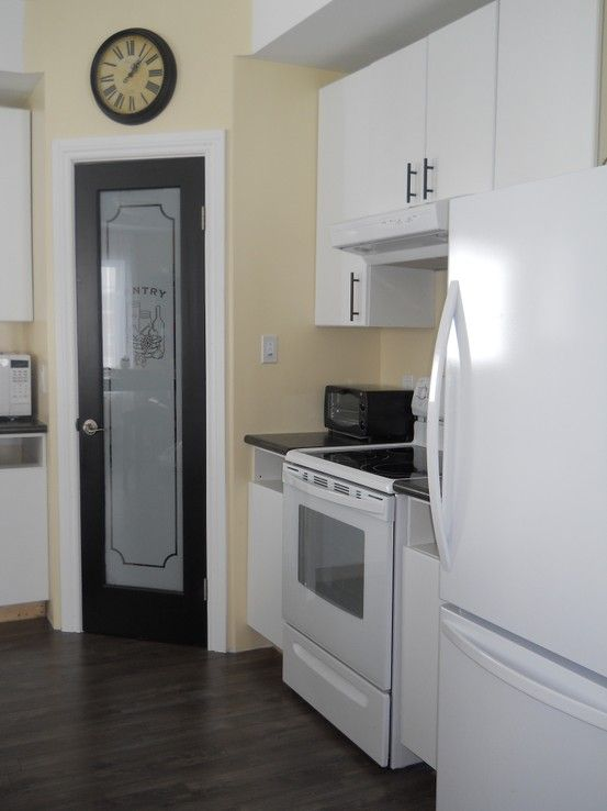 Black pantry door with frosted glass white cabinets dark for White kitchen cabinets with frosted glass