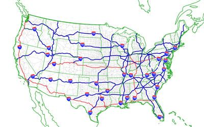 Us Interstate Map Black - Us map with interstates