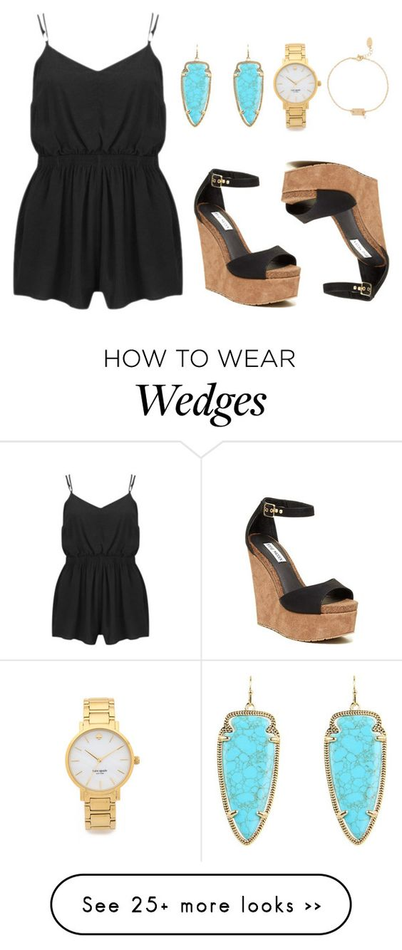 """""""BLACK FOR SUMMER NIGHT"""" by nithefiasco on Polyvore featuring MINKPINK, Kendra Scott, Kate Spade, Steve Madden and Nashelle"""