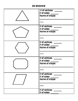These are just a few 2D shapes worksheets I made for my classroom ...
