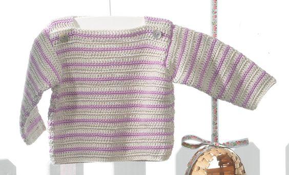 Heft Baby 56 Frühjahr / Sommer | 34: Baby Pullover | Sehr hellbeige / Malve
