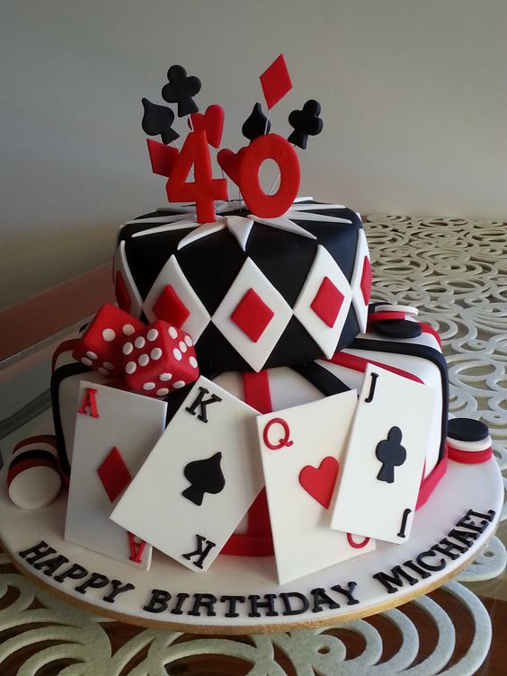 This gamble paid off.. Going back to basic fondant techniques with a great reward. Cake topper, playing cards, die & chips hand made from gumpaste