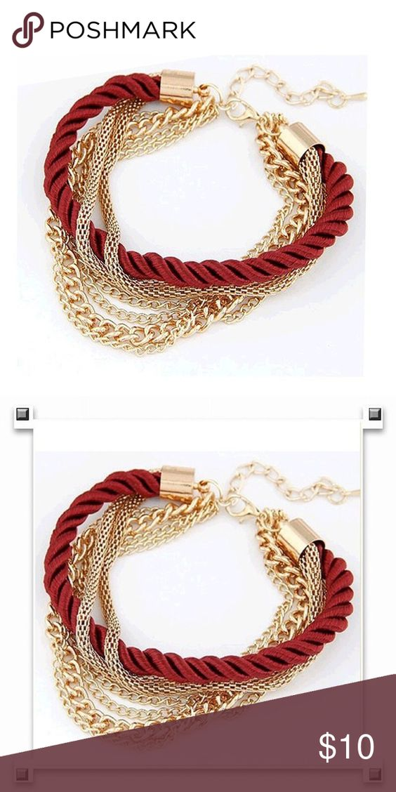 Red rope and chain bracelet new Red rope and chain bracelet adjustable new Jewelry Bracelets