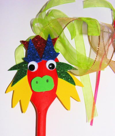 Wooden Spoon Chinese Dragon Puppet