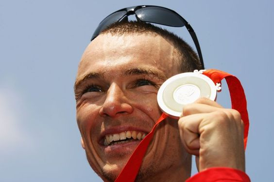 Silver medalist Simon Whitfield of Canada poses after the Mens Triathlon Final at the Triathlon Venue on Day 11 of the Beijing 2008 Olympic Games on August 19, 2008 in Beijing, China.