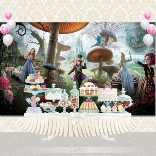 Alice in Wonderland Backdrop Girls Birthday Party Background Baby Shower Vinyl