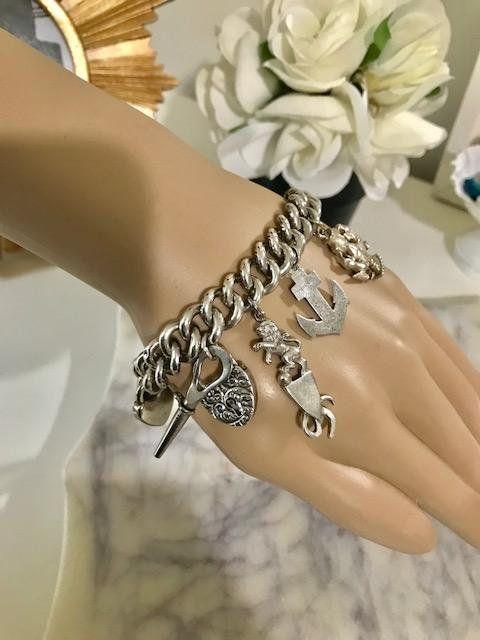 Antique Victorian Curb Link Charms Bracelet Sterling Silver Etsy Sterling Silver Bracelets Solid Silver Bracelets Chunky Bracelets
