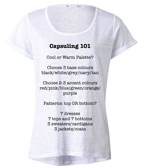 Capsuling 101. Nice little thumbnail of how to streamline the wardrobe. (There's no link just the image.)