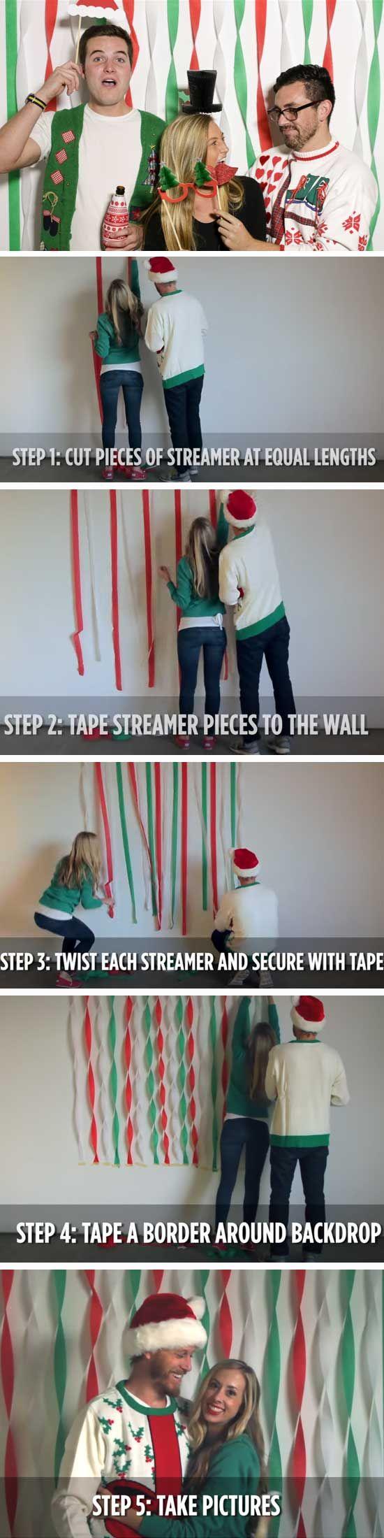 Fun Adult Christmas Party Ideas Part - 22: Festive Photobooth | 20 DIY Christmas Party Ideas For Adults | Beauty Hacks  | Pinterest | DIY Christmas And Holidays