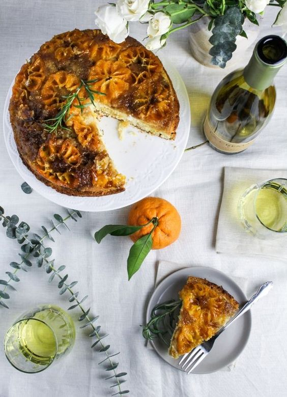 Make-Ahead Brunch - Clementine and Rosemary Upside Down Cake #LaCremaStyle