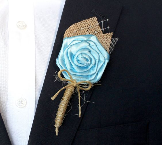 Turquoise Wedding Boutonniere Burlap Wedding by AdoredOccasions