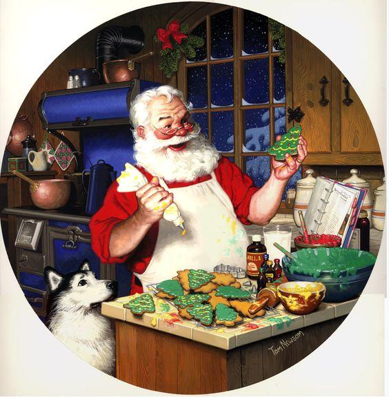 Tom Newsom (b.1944) —  Decorating Cookies, 1996  (939×960):