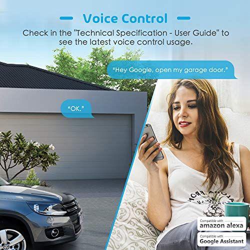 Meross Smart Wi Fi Garage Door Opener Remote App Control Compatible With Alexa Google Assistant An Garage Door Opener Remote Garage Doors Garage Door Opener