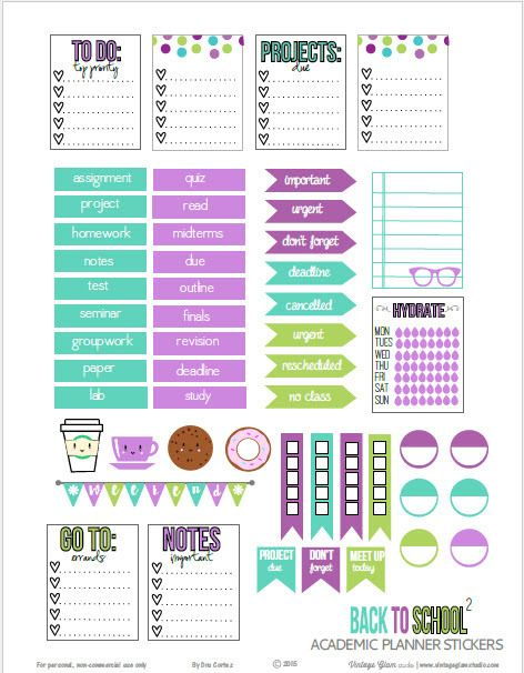 FREE Back to School Planner Stickers | Free printable by Vintage Glam ...