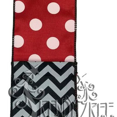 """Two Sided Ribbon - Polka Dots and Chevron Size: 2.5"""" width; 10 yards length Color: Red, White, Black Wire Edge Material: Synthetic One side has red with white polka dots, other side has black/white chevron  #TrendyTree"""