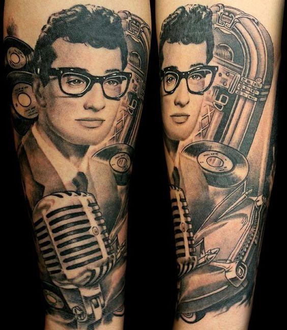 Rock N Roll Tattoo Ideas: Bad Ass Buddy Holly Tattoo