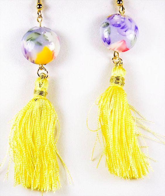 1476+ - Earrings, tassel earrings, bead earrings, yellow thread tassel, purple yellow bead, 2 inch tassel, 3 plus inch earring, ceramic bead by EarringsBraceletsEtc on Etsy