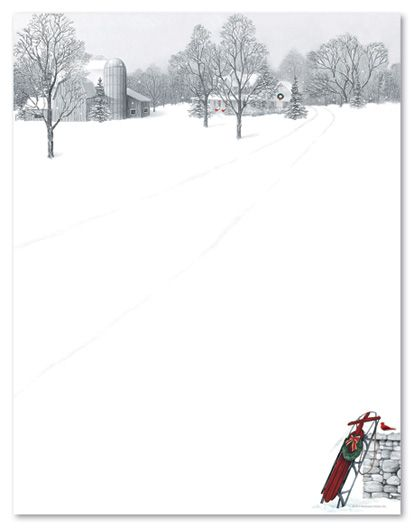 Holiday stationery letterhead winter scene sled 21338 for Free christmas stationery templates
