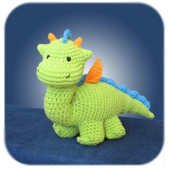 Free Crochet Stuffed Dragon Pattern : Dragon crochet plush in lime green cotton yarn handmade ...