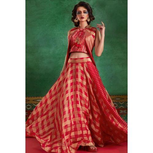 Buy Samyakk Red Silk Checked Jacket Style Lehenga online in India at best price. Buy Pink ethnic georgette lehanga choli Online