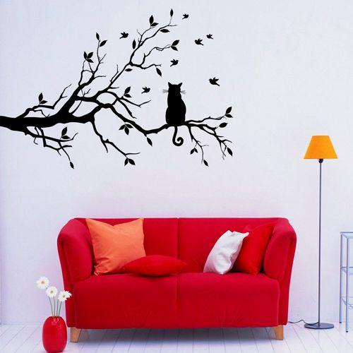 Adesivo de Parede Galhos com Gato é um adesivo ideal para decoração. Decore sua casa com adesivos de parede e personalize seu ambiente c ...: