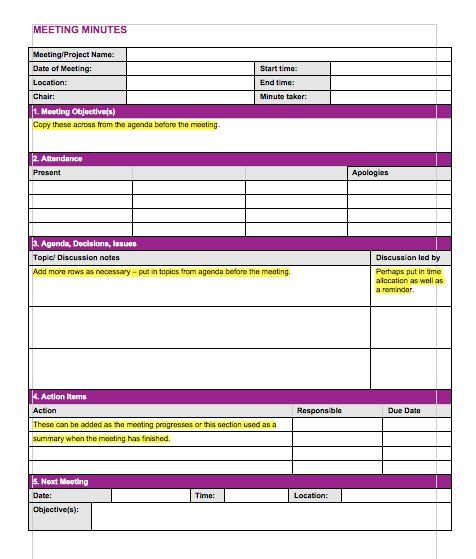Meeting Minutes Template 10 Craft ideas Pinterest Notes - meeting minutes free template