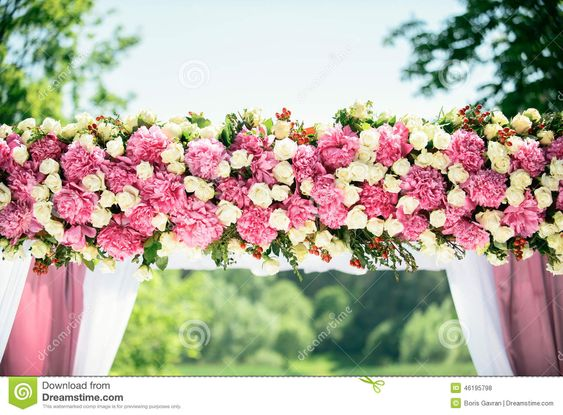 white and pink flower wedding arch - Google Search