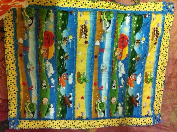 Farm strip rag cot quilt