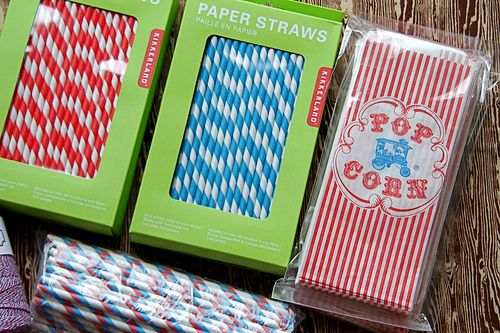 Popcorn bag and striped straws!