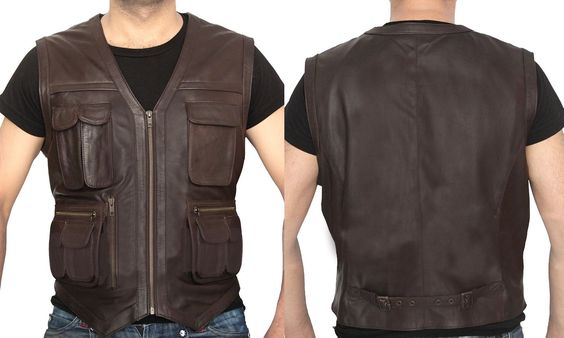 """It's about time that """"Dewuchi"""" Present's. This is Chris Pratt Jurassic World Brown Leather Vest for Men. Made from Faux Leather Our Professional Designers Make Great Effort to Produce this Quality Outfit to Provide an Ideal Collection for Men. Available at Our Online Store in $79.99. Only  #hot #stylish #mencollection #famous #movies #fashion #menbeauty #boysfashion #loves"""