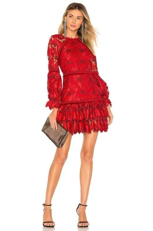 Chili Red Lace Long Sleeve Mini Dress Mini Dress With Sleeves Long Sleeve Lace Mini Dress Mini Dress