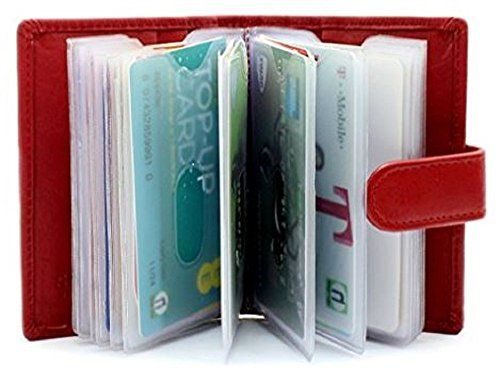 Genuine soft leather credit card holder wallet 20 clear plastic genuine soft leather credit card holder wallet 20 clear plastic pockets 4 further card slots red card holder business card holders bags reheart Images
