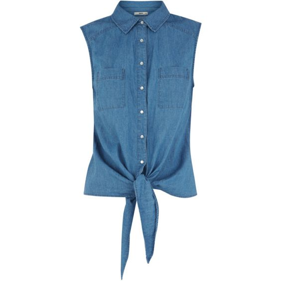 OASIS Denim Tie Front Shirt ($24) ❤ liked on Polyvore