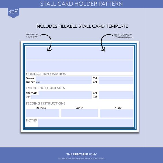 Stall Card Holder Pattern Printable Stall Card With Regard To Horse Stall Card Template Cumed O Business Card Template Word Card Template Business Template