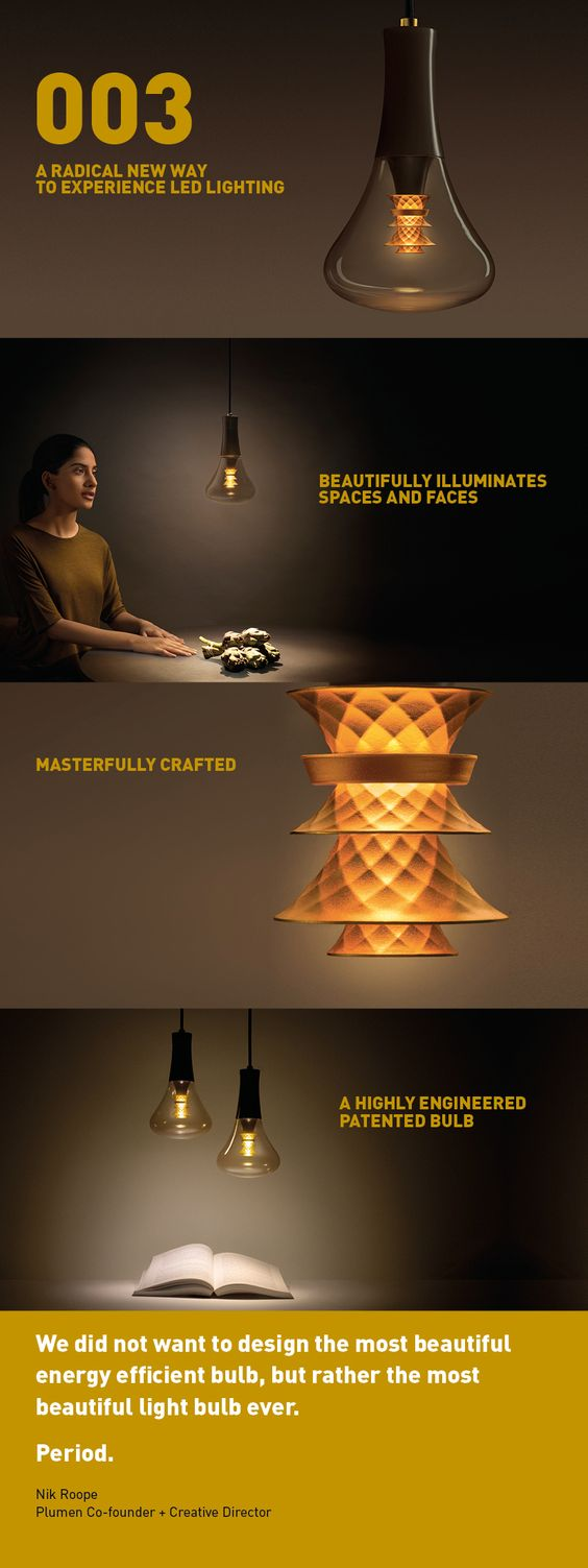 Five years in the making, the Plumen 003 is a highly engineered lamp gives you two lights in one. The downward spotlight illuminates a task, whether you're working, reading, writing or eating. Simultaneously, the gold shade at the centre of the bulb gives off a soft ambient light that's flattering to people's faces.