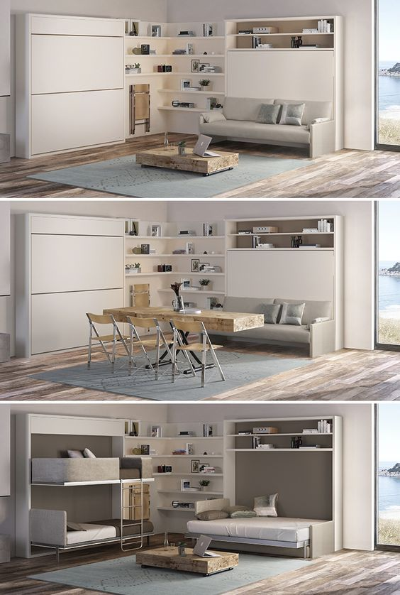 Transforming vacation home by resource furniture this features the lollisoft bunk bed system - Transforming furniture for small spaces image ...