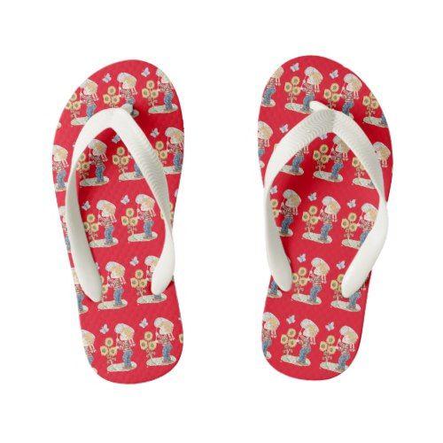 Red flip flops, Butterfly kids