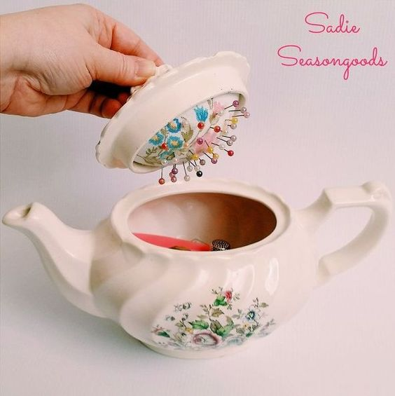 vintage teapot sewing caddy with hidden pincushion, crafts, diy, repurposing upcycling