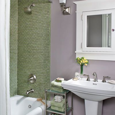 sage green tile and lavender gray walls make for a soothing scheme in