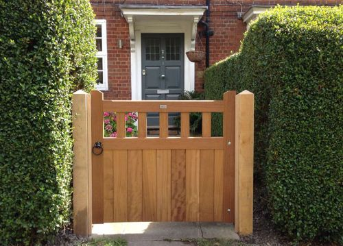 Iroko Hardwood Garden Slatted Belvoir Gate on New Oak Posts