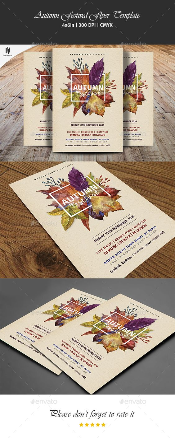 Autumn Festival Flyer Template  — PSD Template • Only available here ➝…
