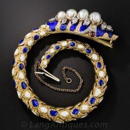 Victorian Enamel, Diamond and Natural Pearl Snake Bracelet: